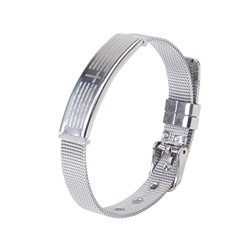 Männer Edelstahl Armbanduhren Silber Kreuz Gebet Armreif Bangle Einstellbare (Einen Für Gebete Mann)