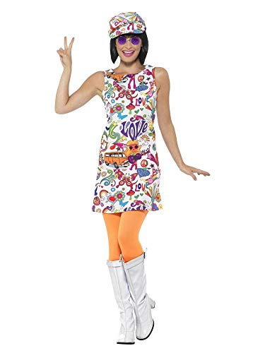 shoperama 60's Groovy Damen Kleid mit Ballon-Kappe A-Linie Mini-Rock 60er Jahre Sixties Twiggy Flower Power Peace Love Hippie, Größe:L