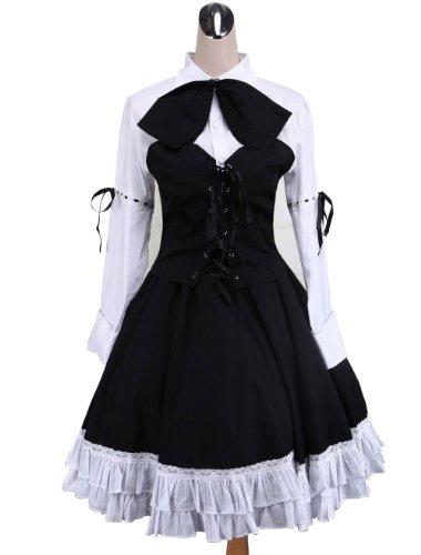 antaina Schwarz Baumwolle Rüsche Spitze Fliege Retro viktorianisch Knielang Elegant Lolita Cosplay Kleid,S (Petticoat Engel)