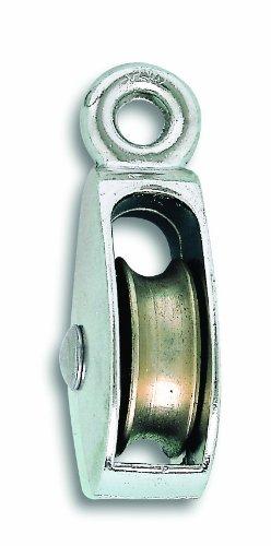 Chapuis VPSF3 Polea con ojal - Zamak niquelado - 109 kg - Rueda diámetro 35 mm - Para cuerda de 7 mm de diámetro