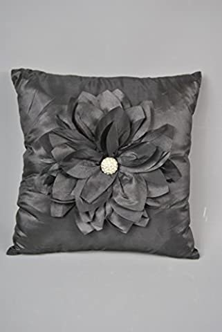 Black satin Cushion with flower , Petal and Diamonte Detail 40 x 40