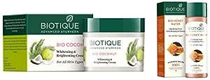 Biotique Bio Coconut Whitening And Brightening Cream, 50g & Bio Honey Water Clarifying Toner, 120ml Combo