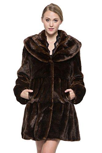Adelaqueen Stile Vintage di Lusso del Cappotto in Pelliccia Sintetica Delle Donne con Lotus Ruffle Collare Marrone scuro Dimensione S