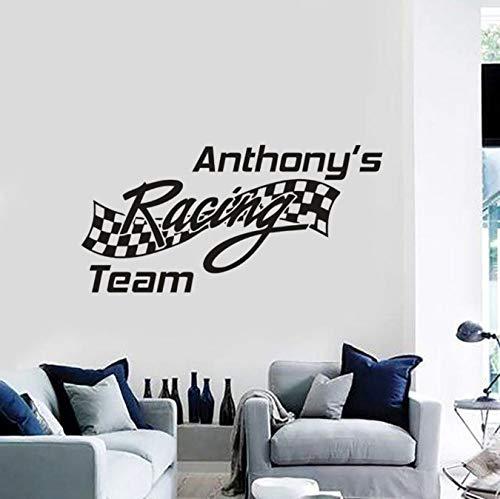 acing Team Zeichen Teamnamen Benutzerdefinierte Vinyl Wandtattoos Racing Team Flagge Wandbild Autofenster Aufkleber 116X57 cm ()