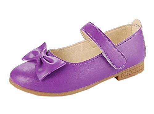 eee0745f0df71e Vokamara Kinder Mädchen Schuhe mit Bogen Mary Jane Ballerinas Bequemschuhe  Lila 26