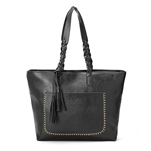 OURBAG Frauen Neue Modische Handtasche Schwarz Kaffee Weinrot Taschen aus PU Leder Groß Schwarz