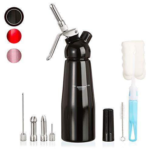 Amazy Sahnespender inkl. 5 Edelstahl Tüllen + 2 Reinigungsbürsten - Profi Sahnesyphon aus Aluminium für die Zubereitung von Schlagsahne, Creme, Mousse, Espuma & Co. (Schwarz | 500 ml)