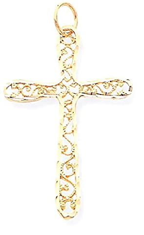 IceCarats 10k Yellow Gold Filigree Cross Necklace Pendant Charm