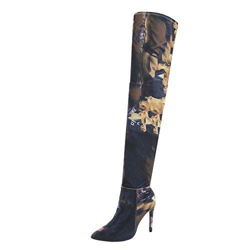 Ital-Design Overknees Damen-Schuhe Overknees Pfennig-/Stilettoabsatz High Heels Reißverschluss Stiefel Pink Multi, Gr 39, My212-