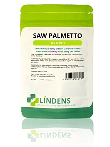Lindens Saw Palmetto 500mg Tablets | 100 Pack | Standardised to provide 22.5mg fatty acids & sterols, popular supplement for middle aged men Test