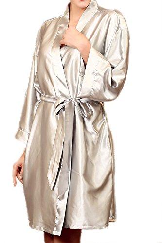 Kimono robe Satin soie Nightwear des femmes Grey