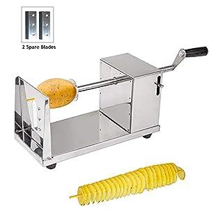 Kartoffelschneider Spiralschneider, Uten Twister schneider Kartoffel Fruit Gemüse aus Edelstahl mit 2 Einsätzen Klingen für Tornado Chips