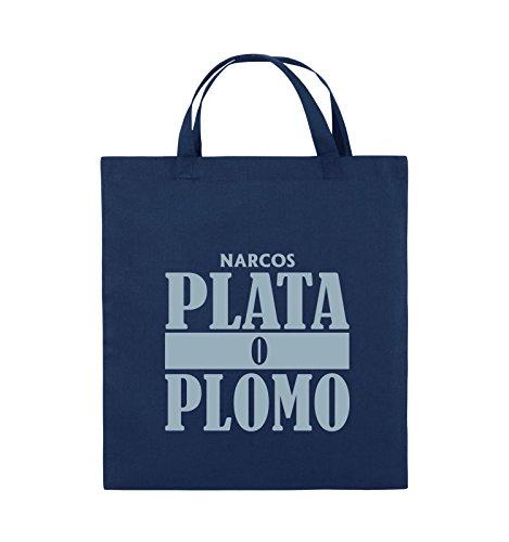 Comedy Bags - PLATA O PLOMO - NARCOS - Jutebeutel - kurze Henkel - 38x42cm - Farbe: Schwarz / Silber Navy / Eisblau