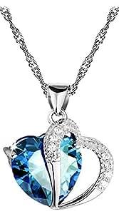 Pendentif coeur saphir bleu et accent de diamant - argent 925 plaqué rhodium - chaîne 45cm