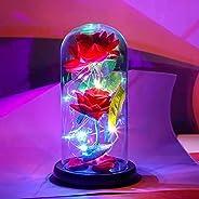BESTSHOP- Preserved flower, rose flower with LED light, glass crystal rose flower gift, birthday, Valentine
