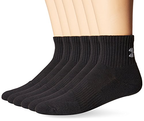 Under Armour Herren UA Charged Cotton 2 Quarter Socken, Schwarz, 6er Pack, L (Rock Socken Sport)