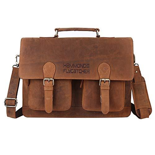 Hammonds Flycatcher Original Oil Pull up Vintage Hunter Leather 15.6 inch Laptop Messenger Bag (L=15.75.1,B=4.75, H=11 inch) LB173A