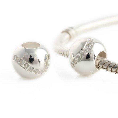 Andante-Stones Original Massiv 925 Silber Kristall Bead mit weißen CZ Zirkoniasteinen Element Kugel für European Beads + (Jamaika Kostüm Kinder)