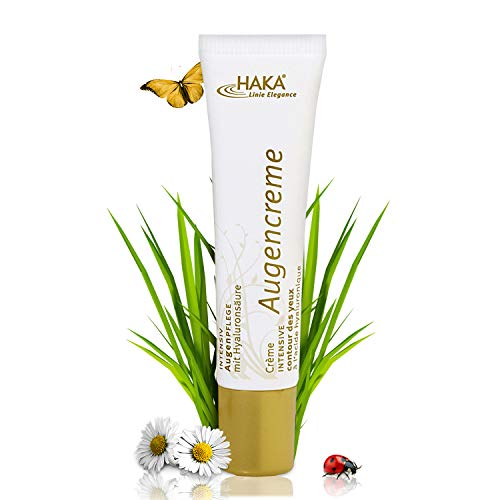 HAKA Augencreme I 15 ml I Augenpflege mit Frischeeffekt I Creme gegen Augenringe I Hyaluron Augencreme mit Jojoba Öl und Shea Butter