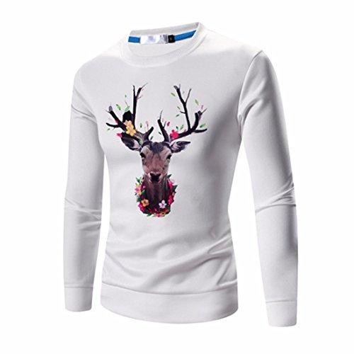 Men's Designer Slim Fit Print Pullover Sweatshirts white
