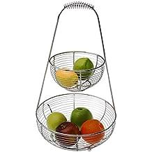 Versa 19530207 Frutero Doble Cesta, 45x27x27cm, Metal, Dos pisos, Frutas