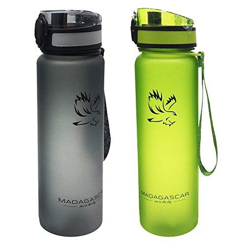 Madagaskar Premium Sport Wasser Flasche 32oz auslaufsicher Flip Top Deckel mit Filter-BPA-Frei & Umweltfreundlich Tritan copolyester (Kunststoff, Grau -
