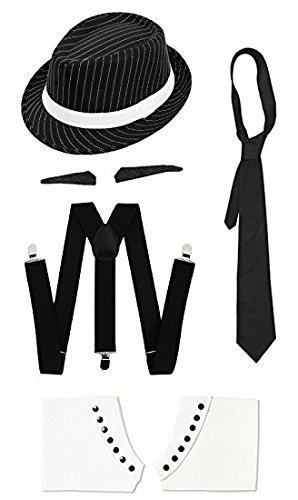 ILOVEFANCYDRESS Gangster Kostüm der 1920er Reihe -Zubehör Set Deluxe -Schwarze Hosenträger + Schwarze Krawatte + Schwarzer Spiv/Schnurrbart + Gamaschen + Schwarzer Nadelstreifen-Fedora-Hut