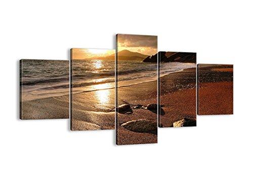 Bild auf Leinwand - Leinwandbilder - fünf Teile - Breite: 125cm, Höhe: 70cm - Bildnummer 2527 - fünfteilig - mehrteilig - zum Aufhängen bereit - Bilder - Kunstdruck - EA125x70-2527 (Streifen Küste)