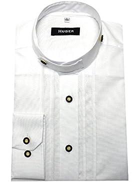Stehkragen Trachten Hemd Weiß mit Biesen HUBER-0705 Bequeme Passform Größe S bis 6XL