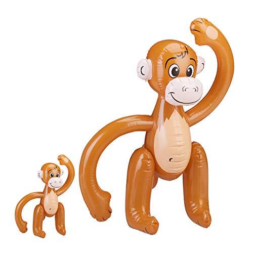 Relaxdays 2 x aufblasbarer AFFE, Äffchen Schwimmtier, Dschungel Party Deko, Safari, Karneval, Kinder Wasserspielzeug, braun