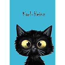 Karl-Heinz: Personalisiertes Notizbuch, DIN A5, 80 blanko Seiten mit kleiner Katze auf jeder rechten unteren Seite. Durch Vornamen auf dem Cover, eine ... Coverfinish. Über 2500 Namen bereits verf