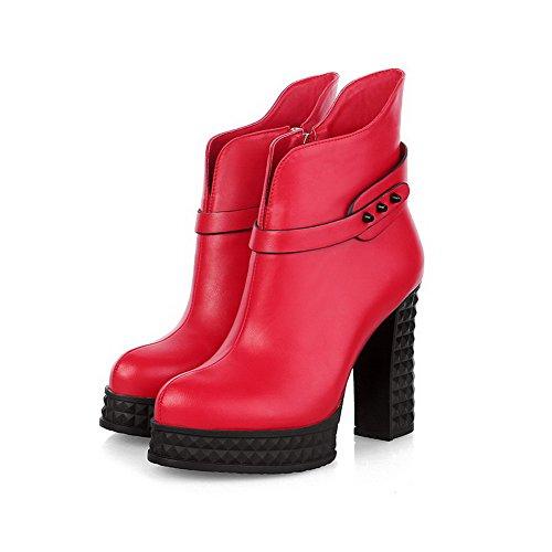 AgooLar Damen Niedrig-Spitze Reißverschluss Blend-Materialien Hoher Absatz Rund Zehe Stiefel Rot