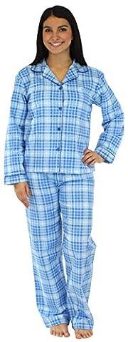 PajamaMania Women's Sleepwear Flannel Pyjamas PJ Set Wintry Blue Plaid-
