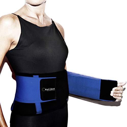 Kutikot fascia lombare 2a generazione con tessuto traspirante cintura di sostegno posturale e terapeutica tutore per la schiena - doppia regolazione - leggera non fa sudare (blue, m)