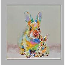 ZYT Singolo moderno astratto mano pura disegnare pronto ad appendere decorativo la pittura ad olio di coniglio . 60*60cm