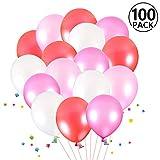 Foonii 100 Stücke Ballons, Farbige Ballons, Partyballon, Bunte Dekorative Ballons für Halloween, Weihnachten, Geburtstagsfeiern, Hochzeitsfeiern - Latex Ballons(rosa,Weiß,crimson,Rose-gefärbt