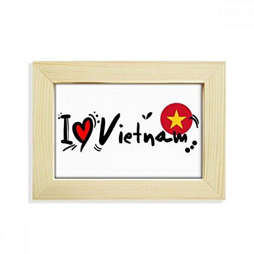 DIYthinker I Love Vietnam Wort Flagge Love Herz Illustration Desktop Holz Bilderrahmen Art Malerei 12,7x 17,8cm