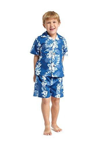 Made in Hawaii Luau Aloha Shirt und Kurz Junge Cabana Set Weiß Linie Hibiskus in blau 6 (Cabana Kurz)