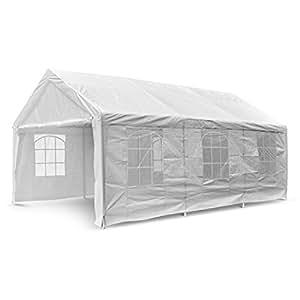 Nexos GM35940 Hochwertiges Festzelt Partyzelt Bierzelt Gartenzelt PE-Pavillon stabil wasserdicht 4 x 6 m weiß