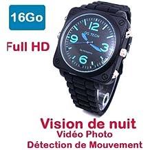 Montre Caméra Cachée Espion 16 Go Full HD 1920x1080 Vision Nocturne Modèle Space 16M