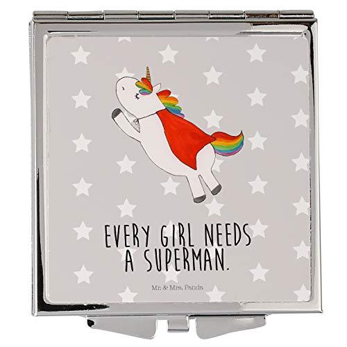 Mr. & Mrs. Panda schminken, Handtasche, Handtaschenspiegel quadratisch Einhorn Superman mit Spruch - Farbe Grau Pastell