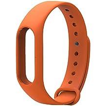 LuckWin Correa de Recambio para XIAOMI Wireless MI BAND 2 Brazalete Pulsera Inteligente Extensibles Coloridos Impermeables ( Naranja )