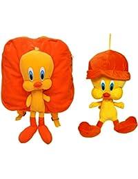 MGP Premium Orange Tweety Kids School Bag With Tweety Cap Toy 30cm