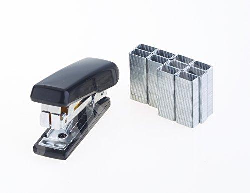Kangaro Mini-Hefter Tacker mit Haken zur Klammerentfernung + 100 Heftklammern Nr. 10 schwarz