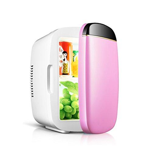 YI HOME- 6L Auto Mini Kühlschrank Single Door Haushalt Kleine Elektronische Gefrierschrank Schlafsaal Stumm Schnelle Heizung Kühlung,Pink (Single-door Box)