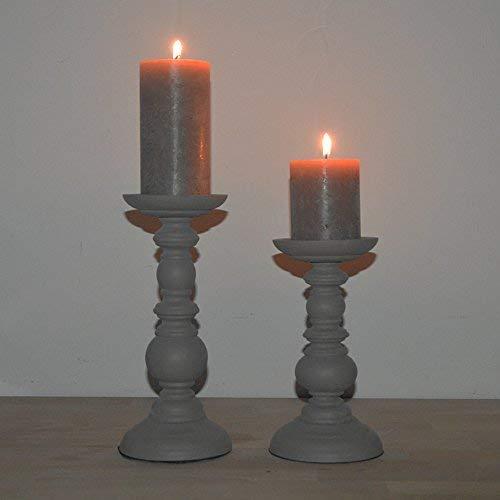 DRULINE Kerzenhalter im Shabby Chic/Landhaus Stil aus Holz,Kerzenleuchter, Leuchter, geeignet für Stumpenkerzen  H x D 20 x 10 + 25 x 10 cm   Klein&groß   Anthrazit
