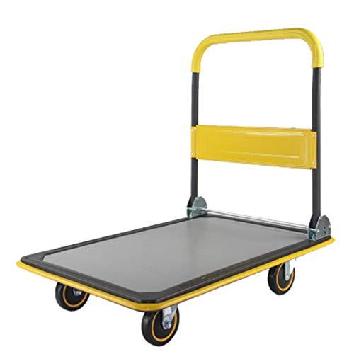 ZHAOHUI Transportkarren Faltbar Gelb Draussen Nahtloses Stahlrohr Schwamm Handlauf Faltbare Stange, Leise PU-Rad, Belastbarkeit 150, 300 Kg (größe : Load 300 kg-60 x 90 cm)