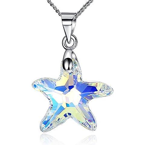 anewish Collares de Plata de Ley 925 con Colgante del Estrella de Mar Cristal , Cadena de 40-45 cm