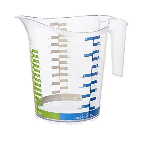 Rotho Domino Messbecher 2 l, Kunststoff (BPA-frei), transparent mit Skala, 2 Liter (22,1 x 15,4 x 19,3 cm) (1 5 Cup Messbecher)