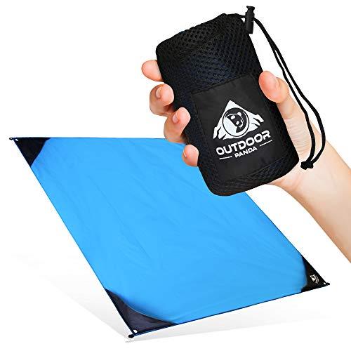 Outdoor Panda NEU 155x140cm Pocket Blanket Große & ultraleichte Camping Picknickdecke/Stranddecke aus wasserfestem Nylon mit kompaktem Packmaß in Blau   Perfekt für Wandern und Trekking